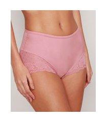 calcinha caleçon cintura alta com renda delrio rosa