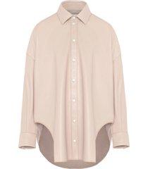 fenty faux leather oversized shirt - neutrals