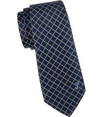 diamond check textured silk tie