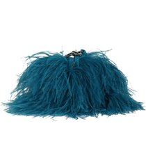ostrich feather shoulder bag turquoise