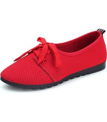 mesh scarpe casual in puro colore traspirante con lacci per le donne