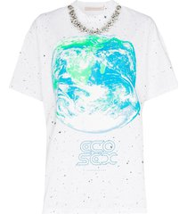 christopher kane ecosexual crystal collar t-shirt - white
