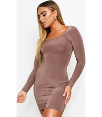 square neck long sleeve bodycon dress, taupe