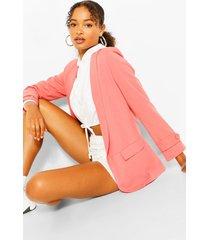 button cuff tailored blazer, candy pink