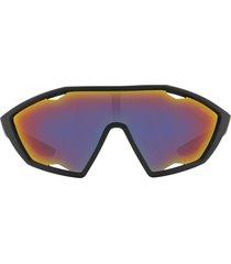 prada linea rossa shield sunglasses in black/dark grey/blue/red at nordstrom
