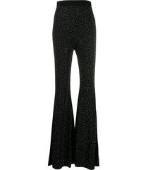 balmain rhinestone embellished flared trousers - black