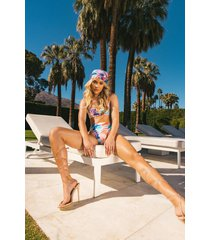 marmerprint crop top bikini met bandjes, blue