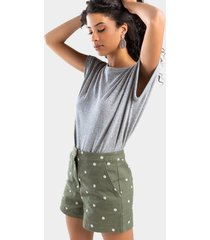 casey daisy embroidered shorts - olive