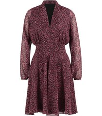 cassandra long leopard long sleeve leopard mini dress burgundy