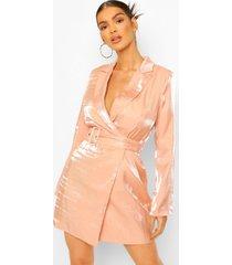 metallic satijnen blazer jurk met ceintuur, blush