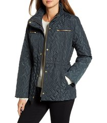 women's cole haan signature quilted jacket, size small - green