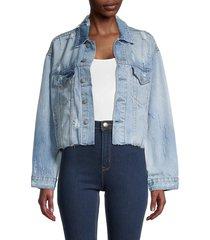 boyish women's the harvey distressed cropped denim jacket - blue - size l