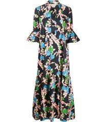 la doublej floral print maxi shirt dress - black