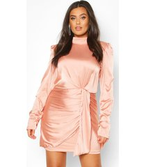 plus high neck ruched detail satin mini dress, taupe
