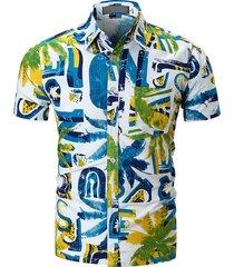 stampa casual da uomo sottile fit manica corta hawaiian camicia con tasca a tasconi