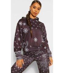 bandana print hoodie, zwart