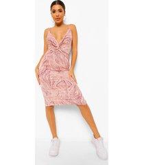gedraaide marmerprint midi jurk, pink