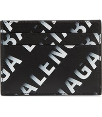 men's balenciaga gradient logo leather card case - grey