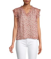 rebecca taylor women's lucia floral silk & metallic top - mulberry combo - size 0