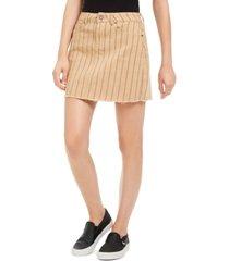 indigo rein juniors' striped raw-hem denim mini skirt