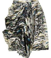 balenciaga pre-owned abstract print gathered silk skirt - brown