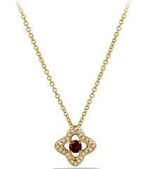 women's david yurman 'venetian quatrefoil' necklace with diamonds in 18k gold