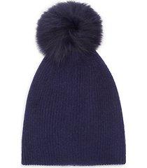 knit cashmere & faux fur pom-pom hat