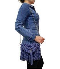 bolsa transversal sapatoweb crochê algodão feminina