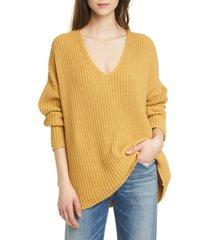 women's jenni kayne fisherman organic cotton blend sweater, size medium - yellow