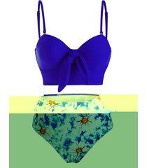 tie front smocked floral tie dye tankini swimwear