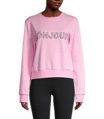 endless rose women's bonjour embellished sweatshirt - pink - size s