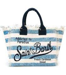 mc2 saint barth light blue striped canvas bag