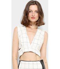 blusa open top cropped recortes grade feminina