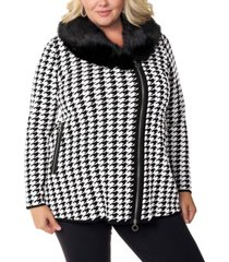 belldini black label women's plus size houndstooth faux fur collar sweater jacket