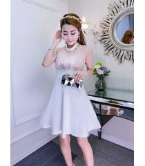 pf244 sexy sequined neck halter dress,stretchcable cotton,, free size white