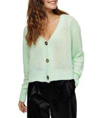 women's topshop crop cardigan, size small - green