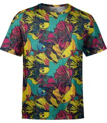 camiseta estampada over fame peixes beta multicoloridos - kanui
