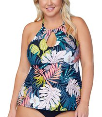 raisins curve trendy plus size rosalie whitehaven bloom printed tankini top women's swimsuit