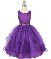 purple sleeveless taffeta flower girl dress birthday bridesmaid wedding pageant