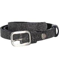 cinturón cuero liso delgado gris