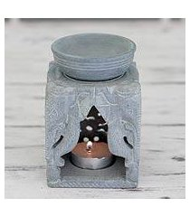 soapstone oil warmer, 'agra elephants' (india)
