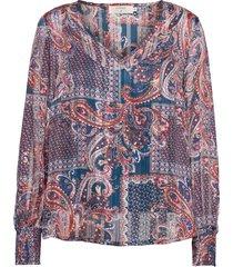 crsheena blouse blus långärmad lila cream