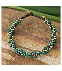 beaded brass bracelet, 'bells in the sea' (thailand)
