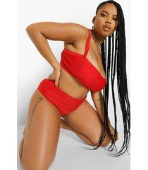 plus essentials korte bikini top met volle cups, red