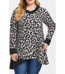 plus size sleeve leopard print mesh spliced long t-shirt