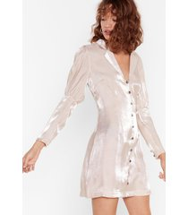 womens glass of shine button-down mini dress - champagne