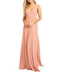 women's show me your mumu jen chiffon a-line gown, size xx-small - pink