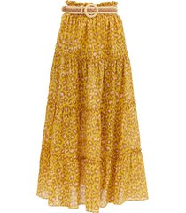 belted leopard-print cotton maxi skirt