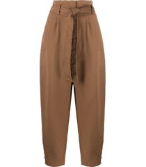 alberta ferretti high-waisted belted trousers - brown