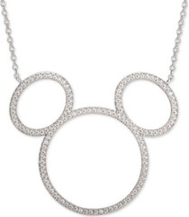 "disney cubic zirconia mickey mouse pendant necklace in sterling silver, 16"" + 2"" extender"